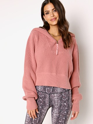 Model in ash rose Varley Mentone Sweater