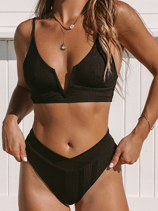 Model in black L Space Siren Bikini Top