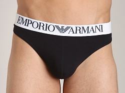 Emporio Armani Colored Stretch Cotton Thong Black