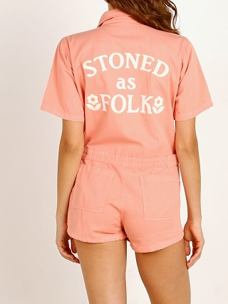 Model in peach Sugarhigh Lovestoned Stoned As Folk Romper