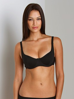 Claudette Cool Cotton Unlined Sweartheart Demi Bra Black