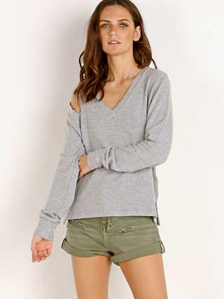 Model in heather grey LNA Clothing Brushed Hawk