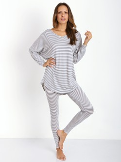 Eberjey Sadie Stripes Dolman Sleeve Tunic Storm Cloud