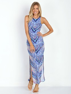 Mara Hoffman Column Dress Rising Palm Blue