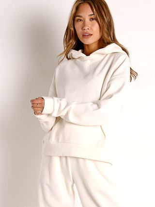 Model in bone Richer Poorer Recycled Fleece Hoodie