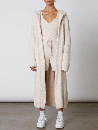 Model in natural NIA Hooded Duster Cardi