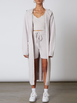 Model in dove NIA Hooded Duster Cardi