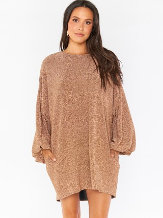 Model in gold shimmy shine Show Me Your Mumu Sure Thing Mini
