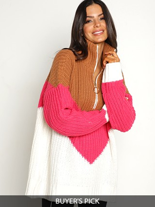 Model in ski lift Show Me Your Mumu Weston Half Zip Pullover