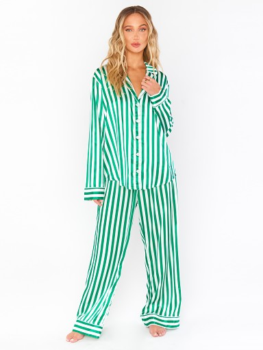 Model in spearmint stripe Show Me Your Mumu Sayer PJ Set