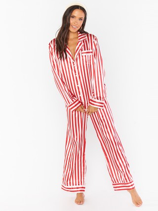 Model in peppermint stripe Show Me Your Mumu Sayer PJ Set