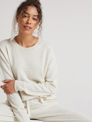 Model in soft nude Bella Dahl Cashmere Crew Neck Sweater