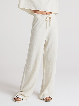 Model in soft nude Bella Dahl Cashmere Wide Leg Pant