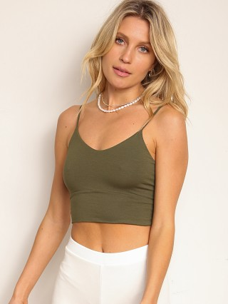 Model in cactus Indah Body Wafer Solid Scoop Neck Bra