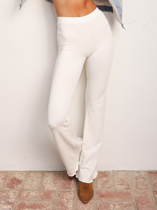 Model in chalk Indah Body Penne Solid Bootcut Pant