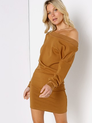 Model in buck Indah Body Baby Ruth Boatneck Mini Dress