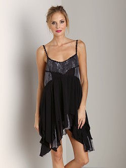 Free People Pieced Lace Slip Black