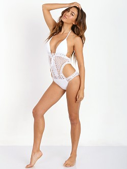 Lisa Maree Down the Garden Path Monokini White