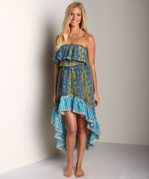 Tolani Morgan Silk Dress Turquoise Floral