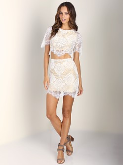 For Love & Lemons Grace Mini Skirt White