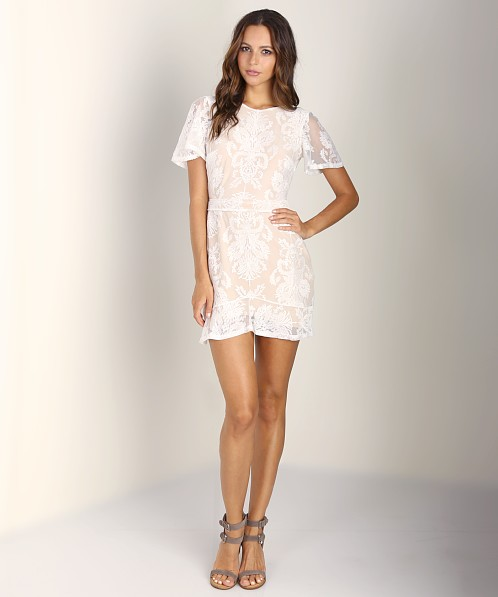 For Love & Lemons San Marcos Mini Dress Ivory