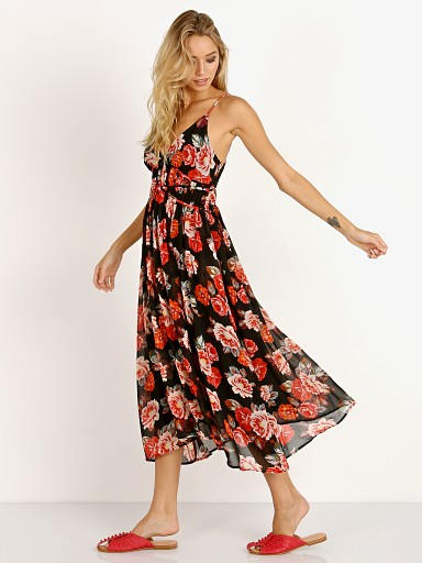 Model in black floral ASTR the Label Marissa Dress