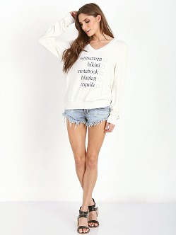WILDFOX Weekend Trip V-Neck Baggy Beach Jumper Vintage Lace