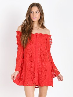 For Love & Lemons Garden Rose Dress Hot Red