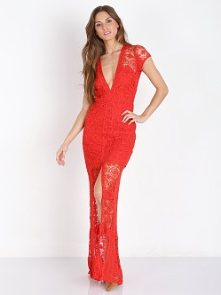 For Love & Lemons Mariposa Maxi Dress Hot Red