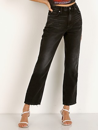 Model in washed black Lee Vintage Modern High Rise Straight Ankle Jean