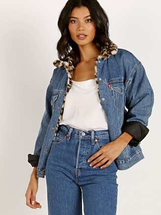 Levi's Oversized Reversible Faux Fur Trucker Jacket Cat Eye