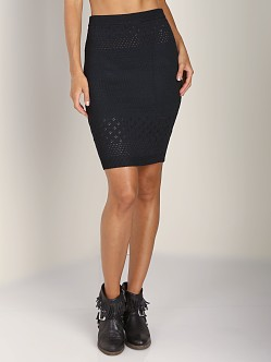 For Love & Lemons KNITZ Soul Knit Pencil Skirt Black
