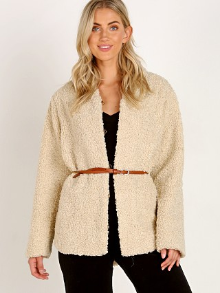 Model in ecru Heartloom Quest Fuzzy Coat