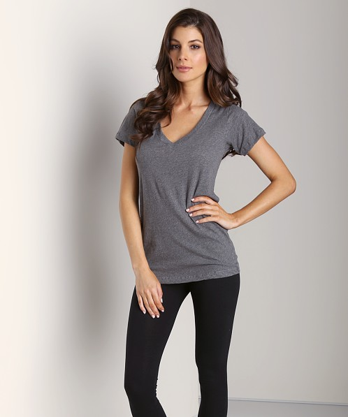 LNA Clothing Short Sleeve Deep V-Neck Heather Gray