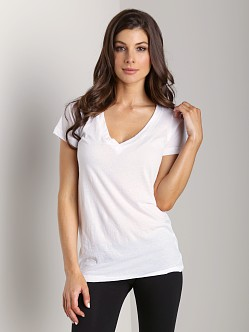 LNA Clothing Short Sleeve Deep V-Neck White