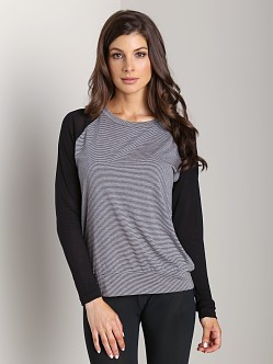 LNA Clothing Striped Contrast Raglan Oat/Black Stripe