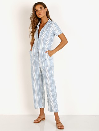 Model in light blue LACAUSA Indigo Striped Montana Jumpsuit