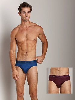 Calvin Klein Microfiber Stretch 2-Pack Hip Brief Arctic/Cabernet