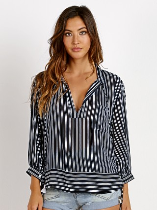 Model in serafina stripe Faithfull the Brand Coruna Shirt