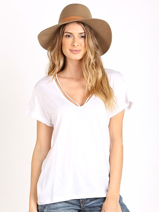 LNA Clothing Deep V Strappy Tee White
