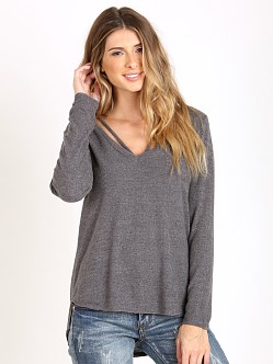 LNA Clothing Strappy Sweater Charcoal