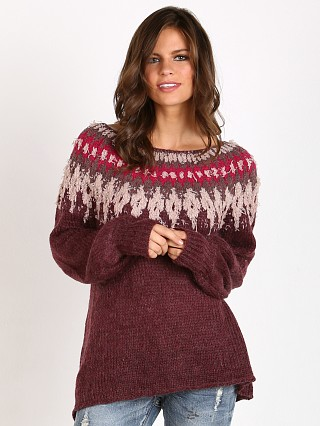 Free People Baltic Fairisle Sweater Berry Comno