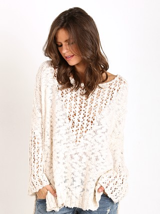 Free People Pretty Pointelle Sweater Vee Ivory