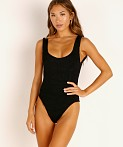 Hunza G Square Neck One Piece Swim Black, view 2