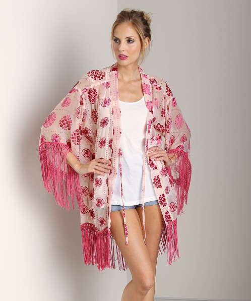 Free People Far East Velvet Burnout Robe Rose