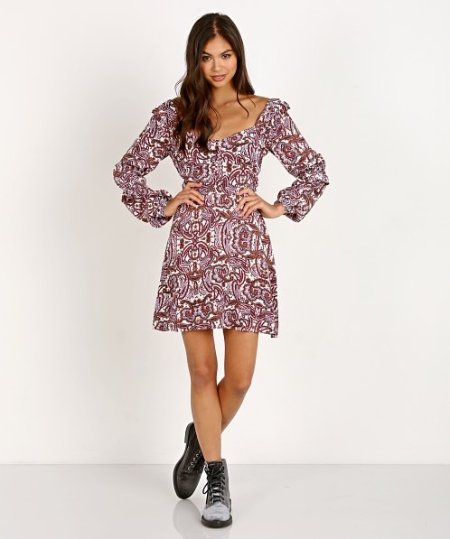 For Love & Lemons Geaorgi Babydoll Dress Lilac Paisley