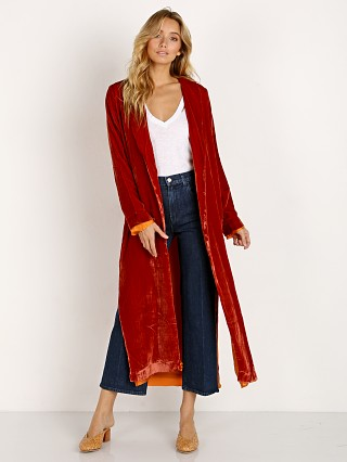 For Love & Lemons Nadine Velvet Coat Rust