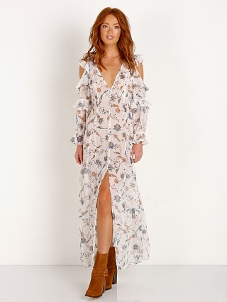 For Love & Lemons Elyse Ruffled Maxi Dress Lurex Floral