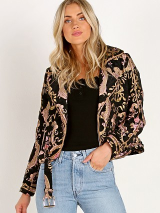 For Love & Lemons Brocade Moto Jacket Black Floral