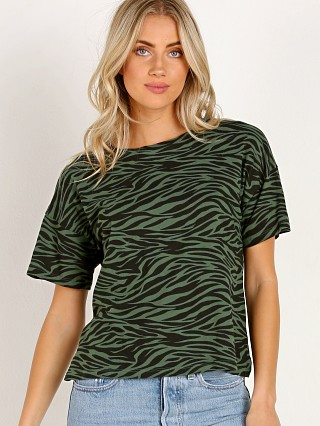 Model in black forest zebra LNA Clothing Zebra Boxy Crew Tee